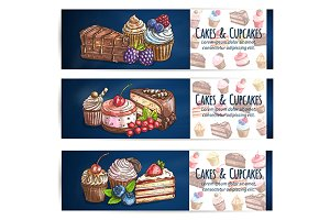Bakery desserts and sweets banners