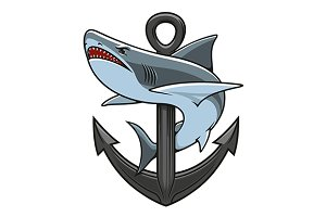 Shark on anchor mascot