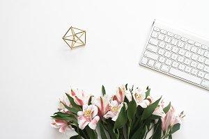 Flower & iMac Keyboard Stock Photo