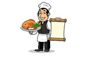 Jewish chef with menu and fish