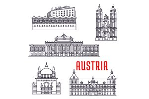 Austrian landmark vector icons