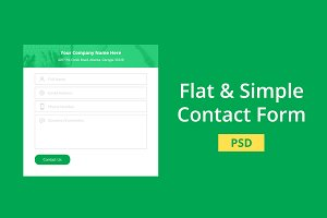 Flat & Simple Contact Form - PSD