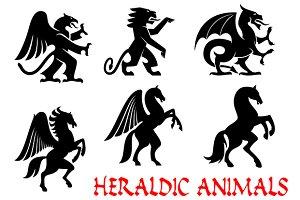 Heraldic dragon pegasus lion griffin
