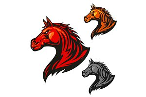 Furious horse head icon