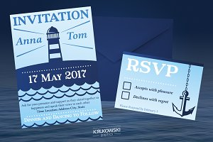Marine Wedding Invitation Template