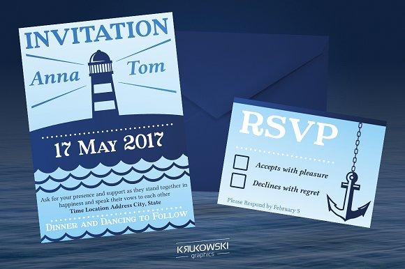 Marine Wedding Invitation Template Invitations