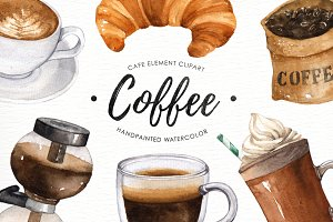 Coffee watercolor clipart