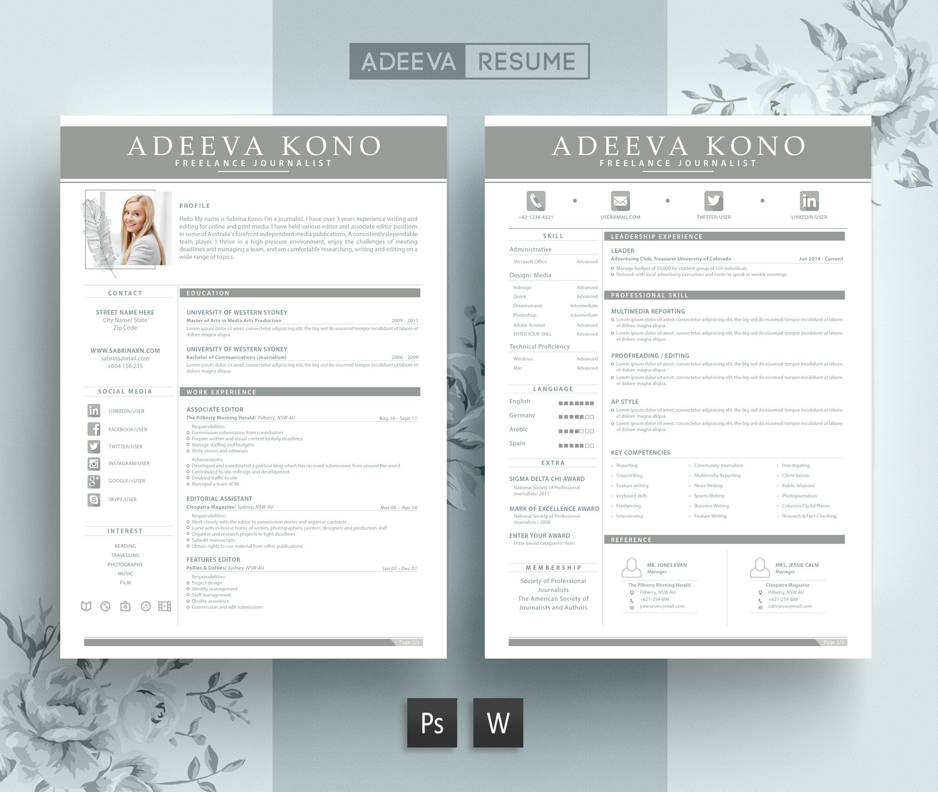 Professional Resume Templates Free: Professional Resume Template Kono