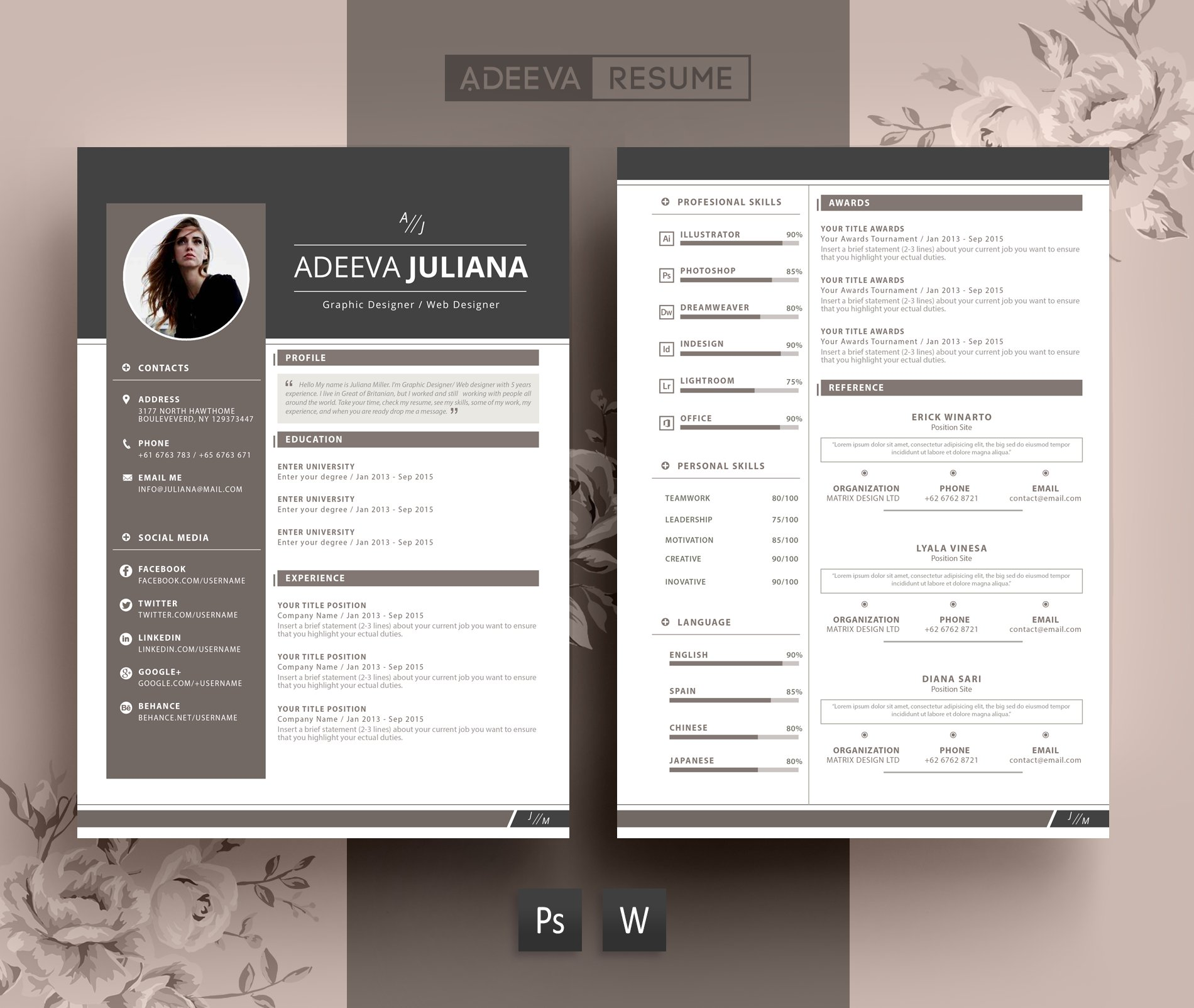 modern resume template julianna resume templates creative market. Black Bedroom Furniture Sets. Home Design Ideas