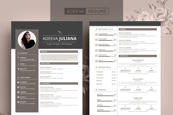 Modern Resume Template from images.creativemarket.com