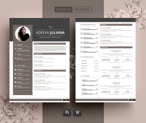 Modern Resume Template Julianna ~ Resume Templates ~ Creative Market