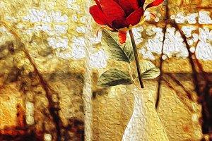 Red roses flower in glass vase