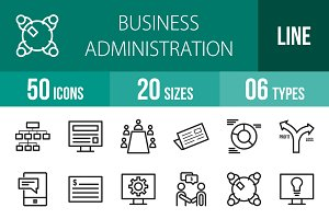 50 Business Administration Line Icon