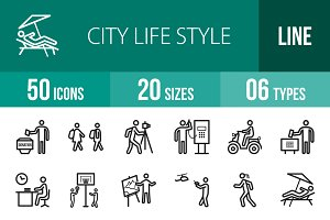 50 City Lifestyle Line Icons