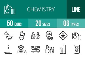 50 Chemistry Line Icons