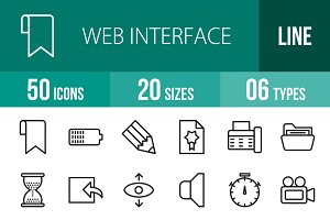50 Web Interface Line Icons