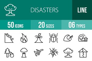 50 Disasters Line Icons