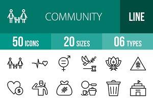50 Community Line Icons