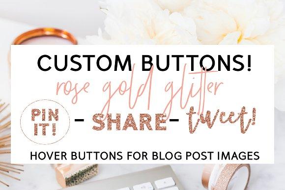 Rose Gold Glitter Blog Hover Buttons - Web Elements