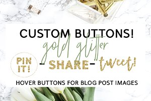 Gold Glitter Hover Buttons for Blog