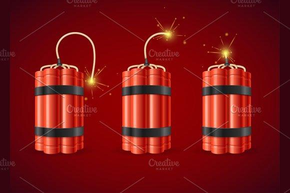 Detonate Dynamite Bomb Set. Vector - Illustrations