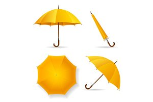 Yellow Umbrella Template Set. Vector