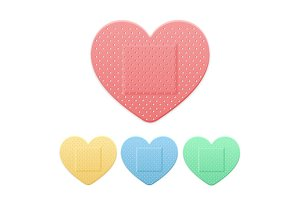 Plaster Heart Color Set. Vector
