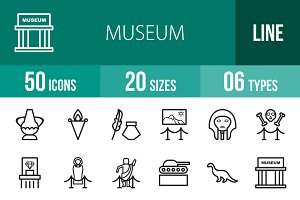 50 Museum Line Icons
