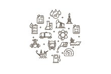 Oil Industry Round Design Icon