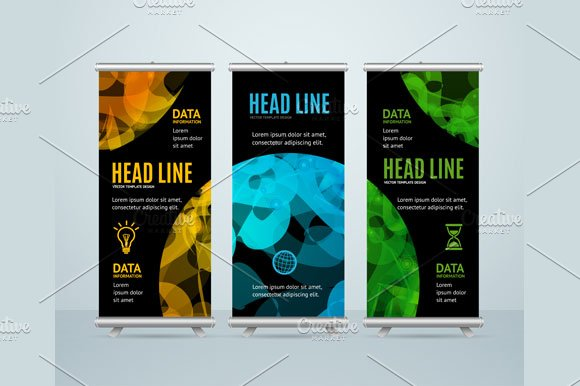 Roll Up Banner with Sphere. Vector - Illustrations