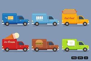 6 Food Van Vector