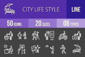 50 City Lifestyle Line Inverted Icon
