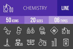 50 Chemistry Line Inverted Icons
