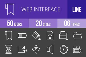50 Web Interface Line Inverted Icons