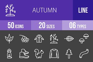 50 Autumn Line Inverted Icons