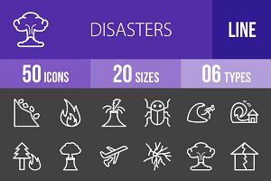 50 Disasters Line Inverted Icons