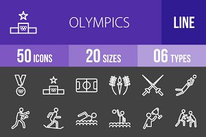 50 Olympics Line Inverted Icons