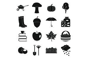 Autumn icons set, simple ctyle