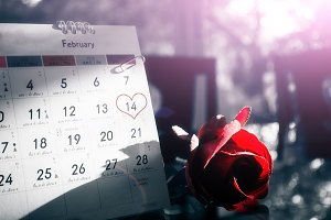 Red roses flower with calendar