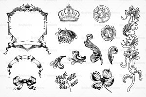 Etched Victorian Ornament Brushes