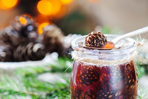 Confiture from young pine cones