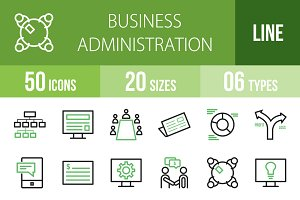 50 Business Line Green & Black Icons