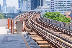 Railway at sky train in Bangkok