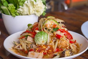 papaya salad of spicy Thai food.