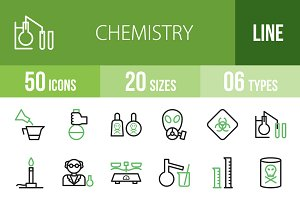50 Chemistry Line Green&Black Icons