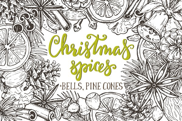 Christmas spices, bells, pine cones