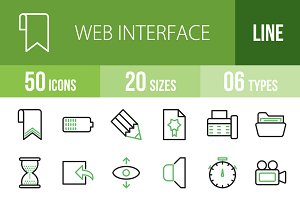 50 Web Interface Green & Black Icons