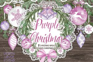 "Watercolor ""Purple Christmas"""