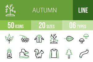 50 Autumn Line Green & Black Icons