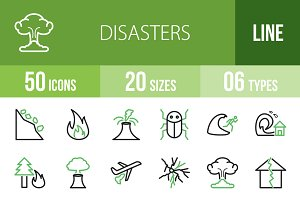 50 Disasters Line Green&Black Icon